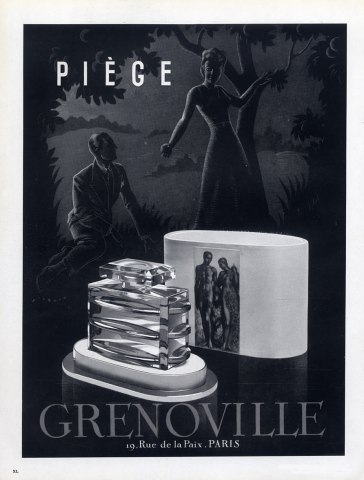 PUBLICITE ANCIENNE PRESENTANT LE FLACON PIEGE DE GRENOVILLE