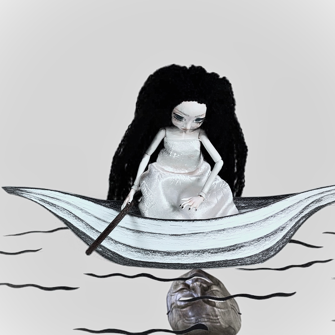 doll_looking_for_reflection_on_water_surface