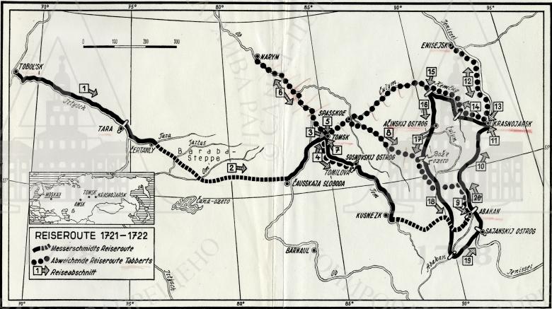 Карта маршрута путешествия Д.Г. Мессершмидта по Сибири