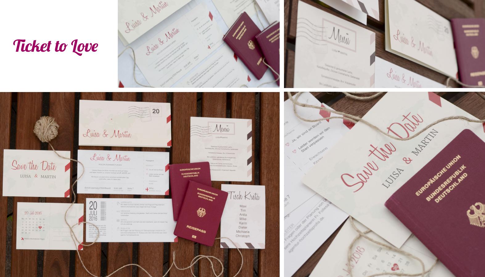 Hochzeitseinladungen Ticket