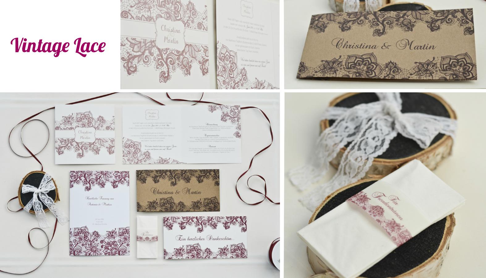 Hochzeitseinladungen Vintage Lace