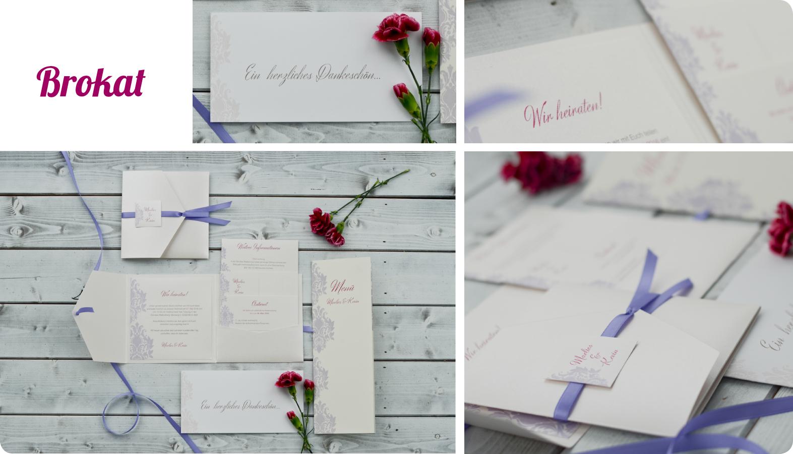 Hochzeitseinladungen Brokat