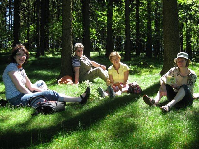 Rast und Lesen im Wald