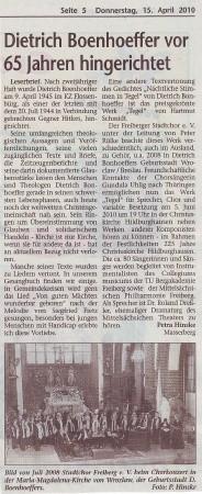 "15.04.2010 ""Südthüringer Rundschau"""