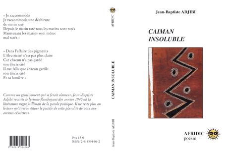 """Le """"Shango """"de R. Hazoumé en couverture du """"Caïman insoluble """"de JBA. Electrique!"""