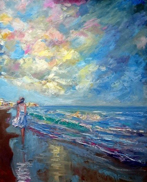 donna , mare, impressionismo contemporaneo