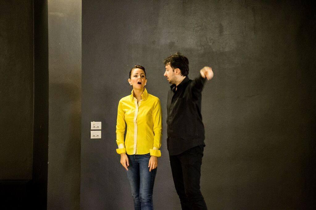 Con Vilija Mikstaite nel corso delle prove del II atto.