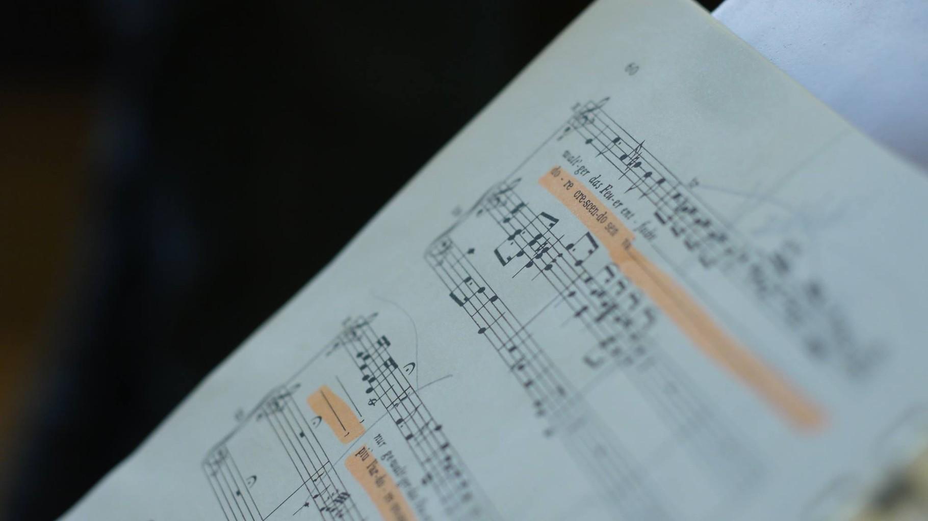 """Una pagina della vocal score del """"Serse""""."""