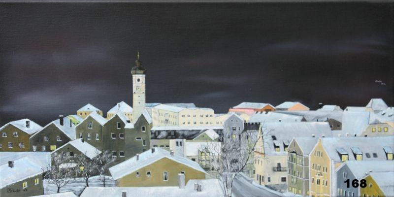 Nr.168 Winternacht in Dorfen. Format 30x60cm