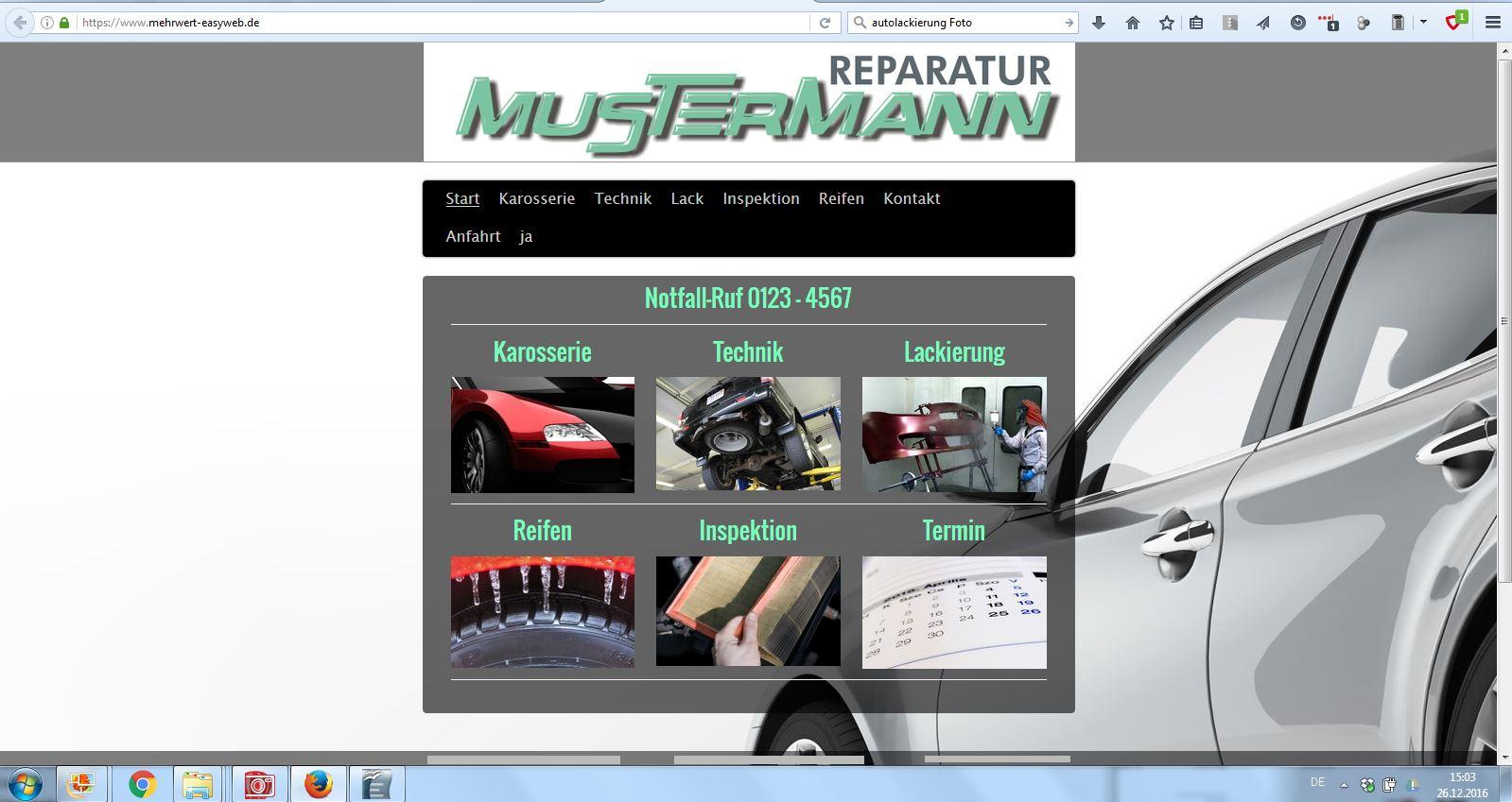 Startseite mit Navigation