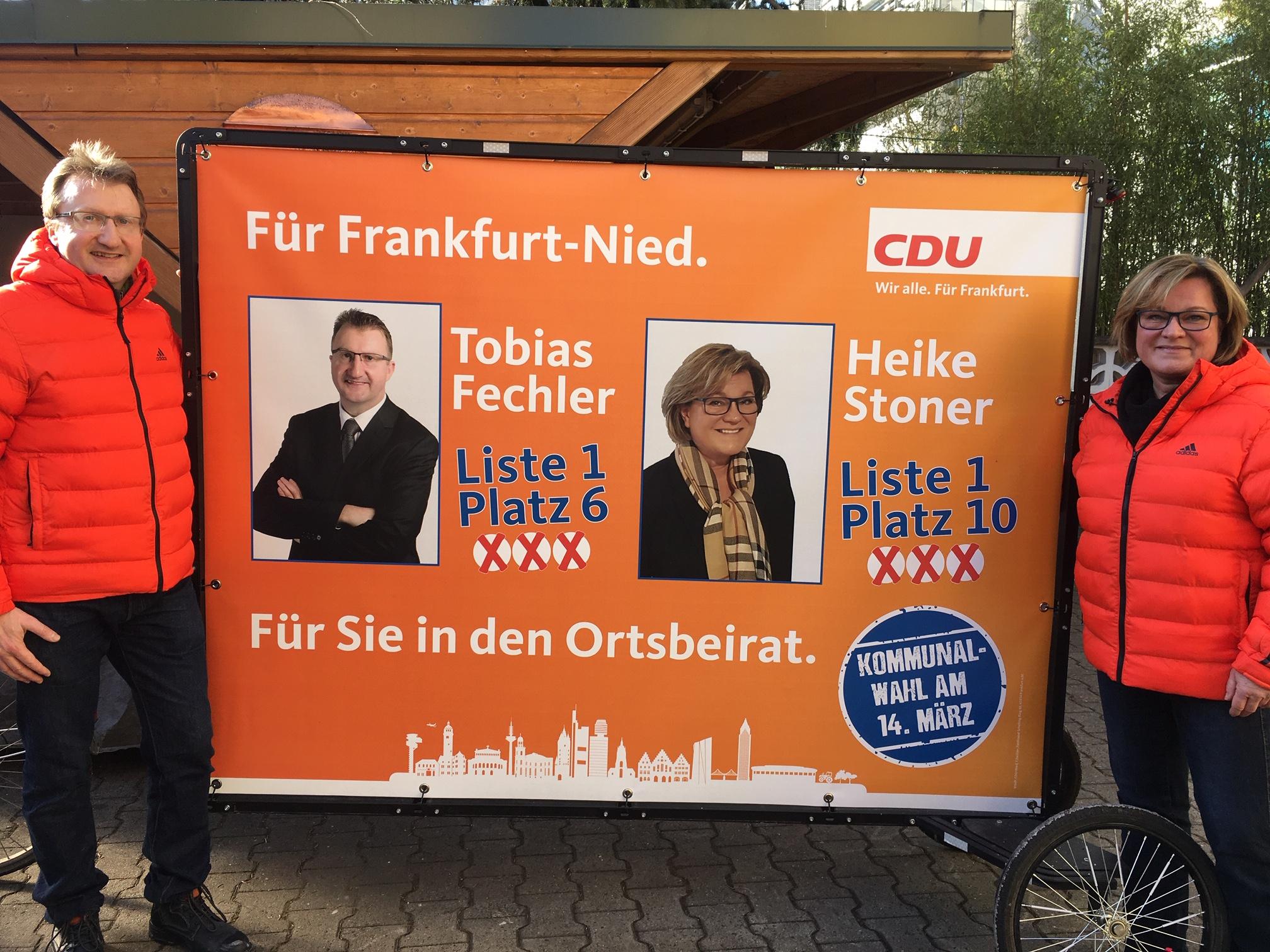 Tobias Fechler und Heike Stoner kandidieren für den Ortsbeirat 6.