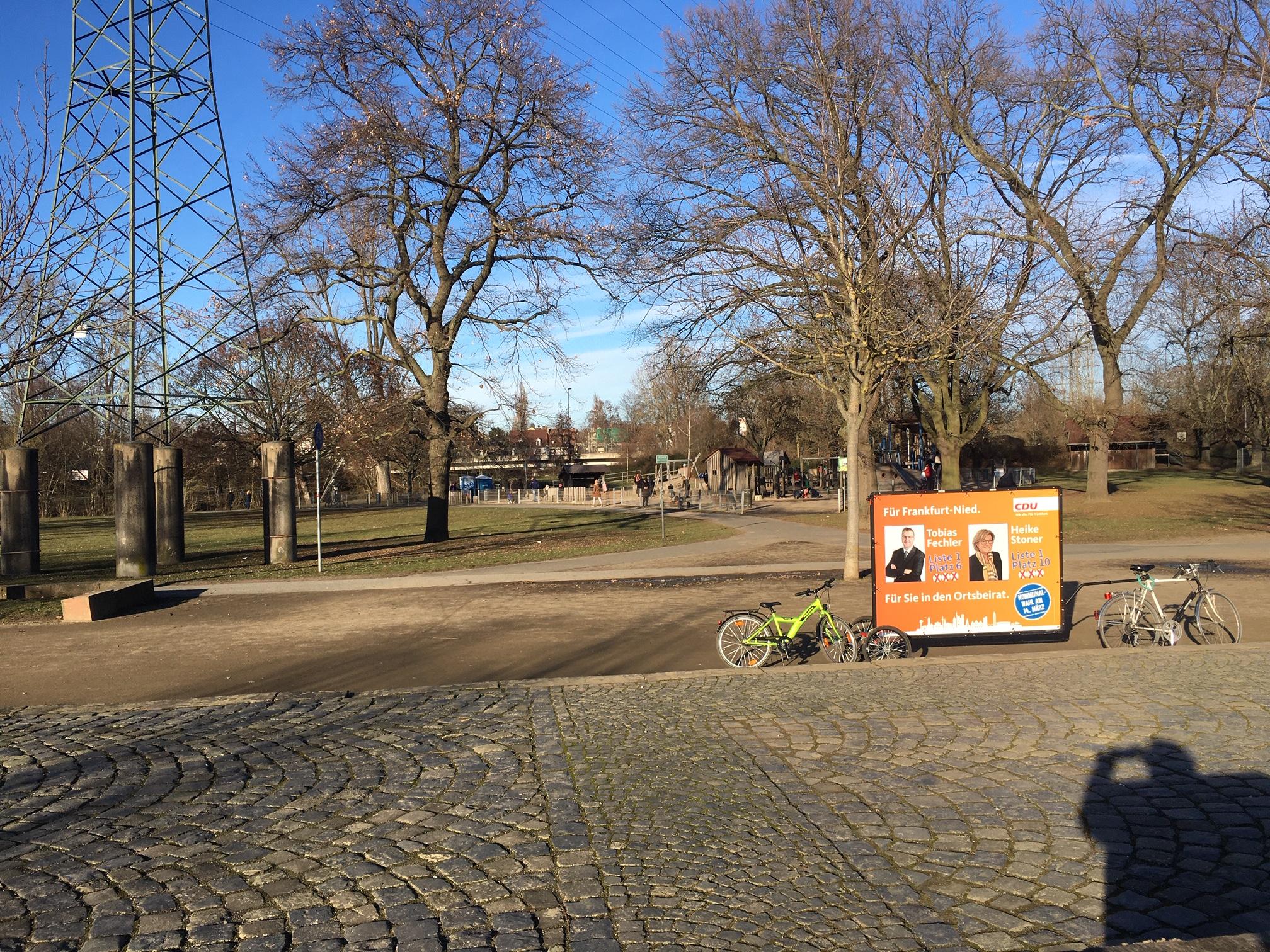CDU Banner am Spielplatz Wörthspitze.