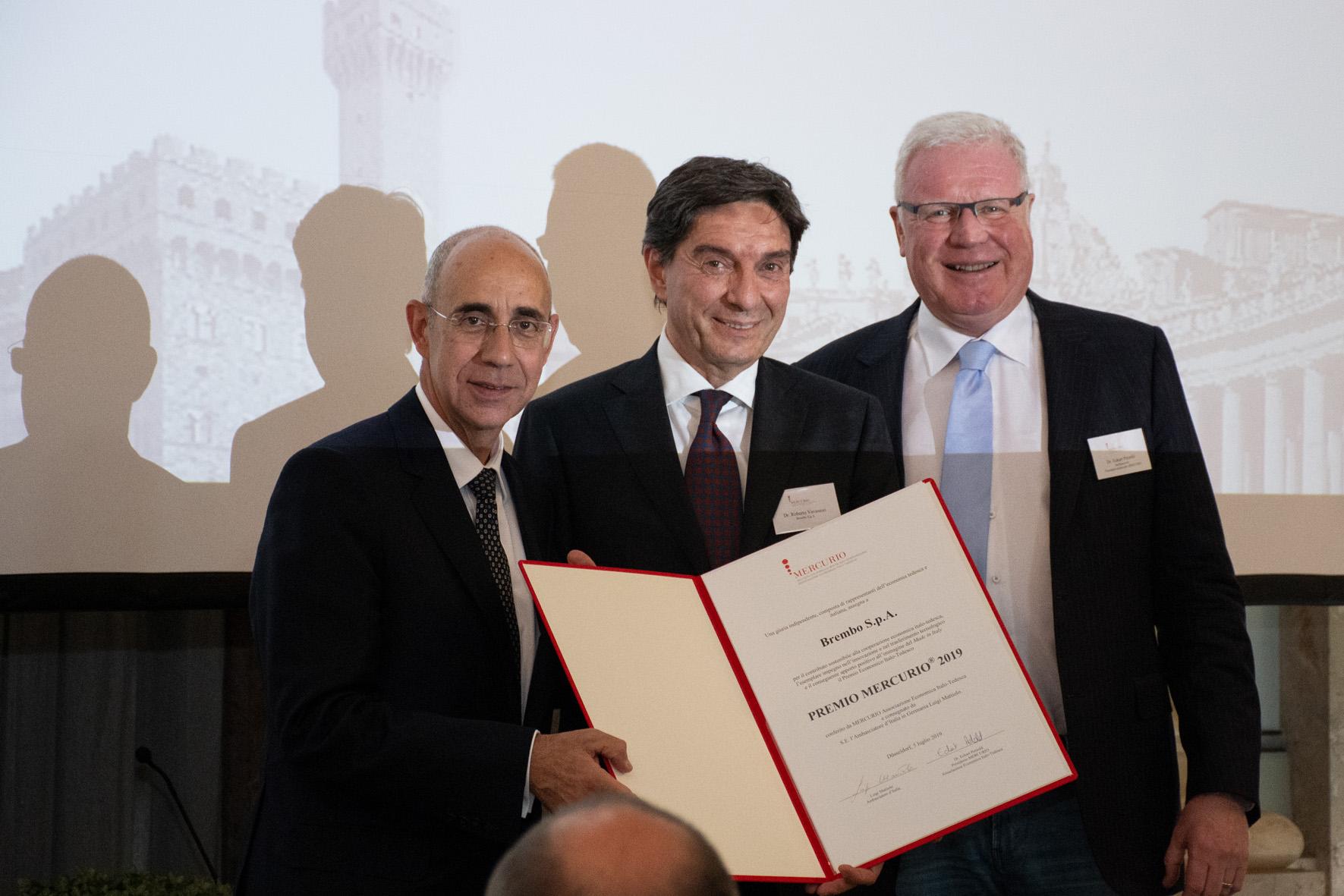 S.E. Luigi Mattiolo, Dr. Roberto Vavassori (Brembo), Dr. Eckart Petzold (MERCURIO)