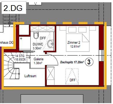 Grundriss Wohnung Nr. 3 - 2. DG