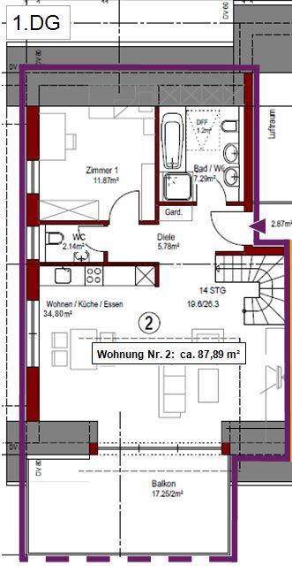 Grundriss Wohnung Nr. 2 - 1.DG