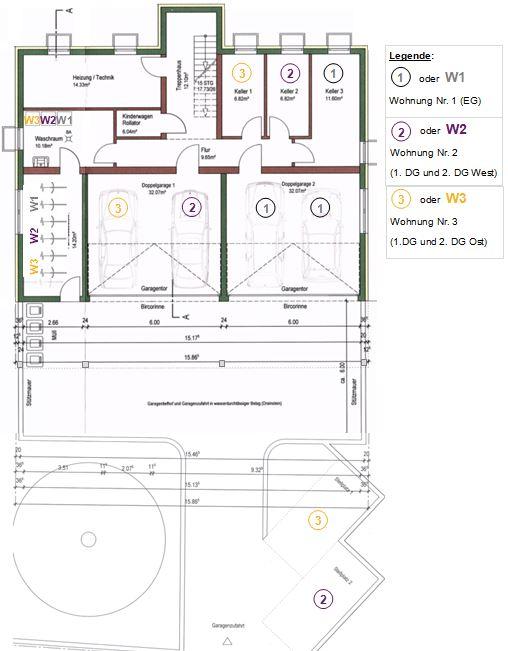 Grundriss Untergeschoss mit Zuteilung