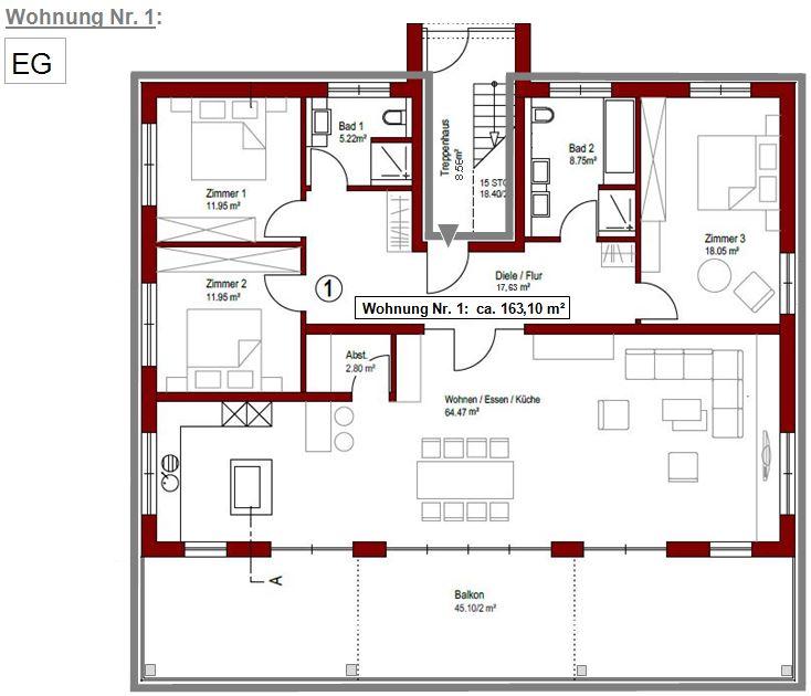 Grundriss Wohnung Nr. 1