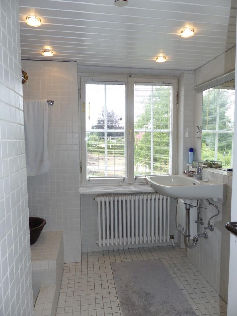 Tageslichtbad mit großer Dusche und Waschbecken