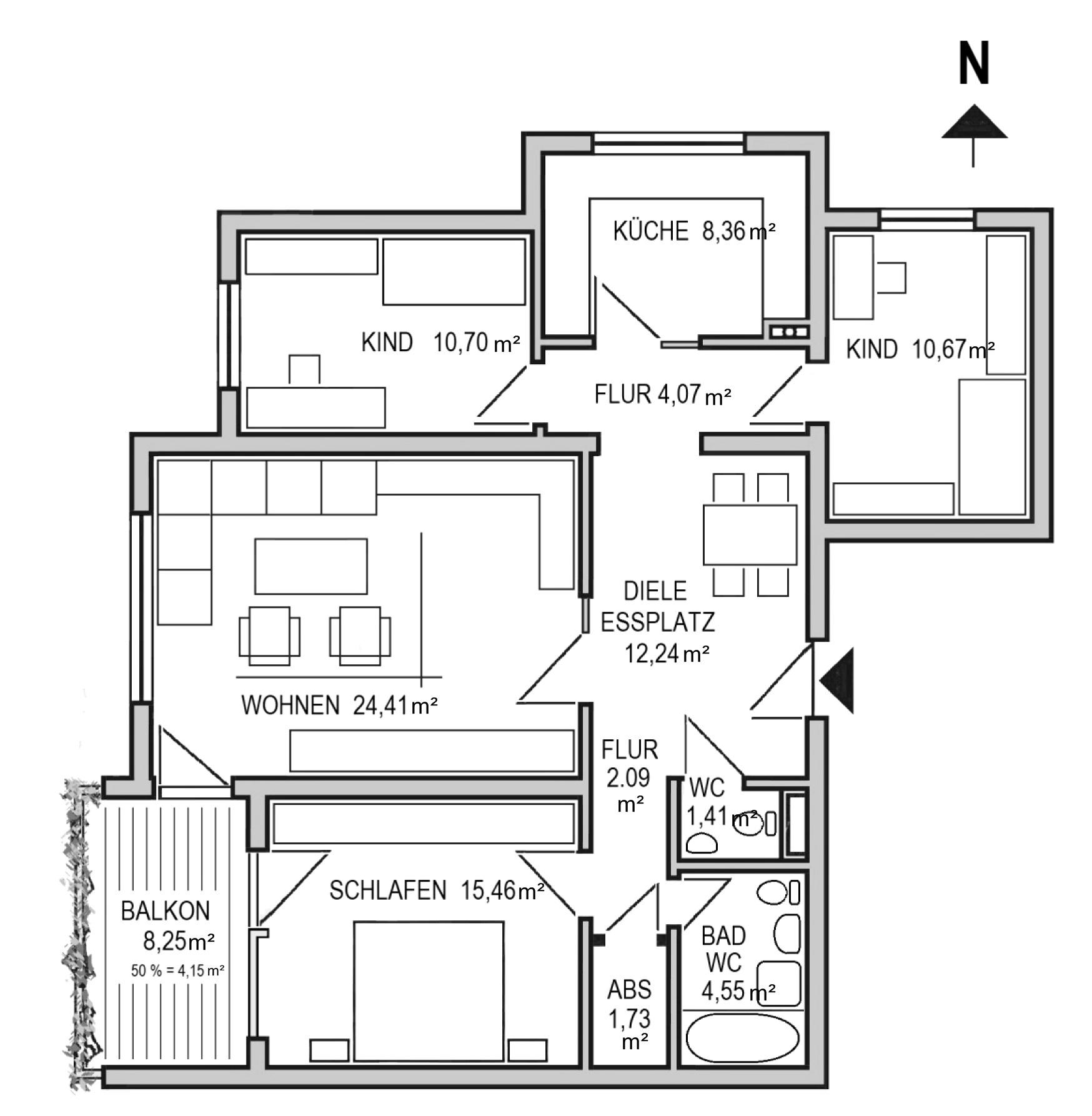 Grundriss 4,5-Zi-Wohnung