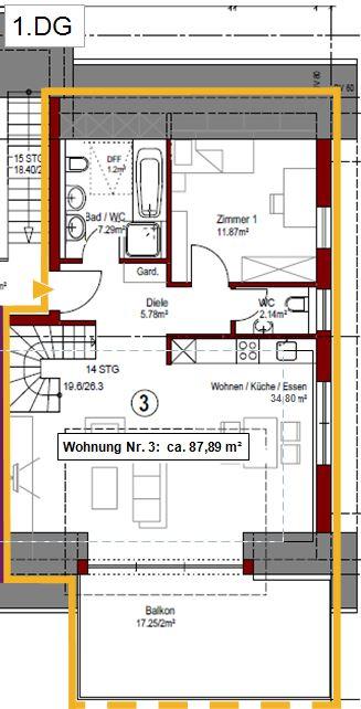 Grundriss Wohnung Nr. 3 - 1. DG