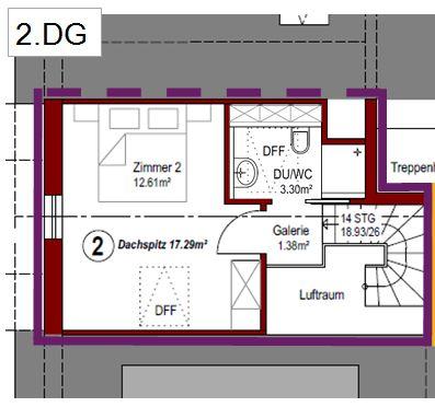 Grundriss Wohnung Nr. 2 - 2. DG