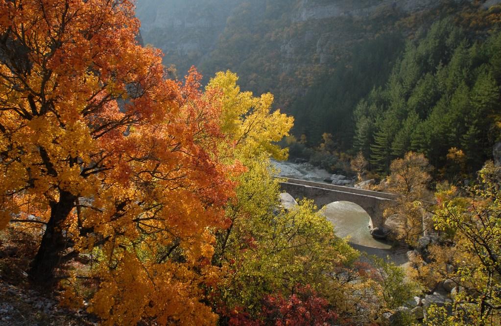 Le pont roman au-dessus des gorges de la Méouge dont  vasques et cascades font la joie des baigneurs