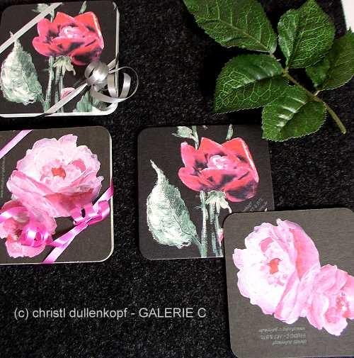 Rosen-Untersetzer  /  gemalte Rosen von Ch. Dullenkopf