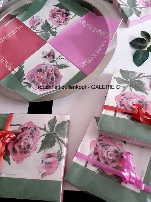 Rosen-Serviette  /  gemalte Rosen von Ch. Dullenkopf