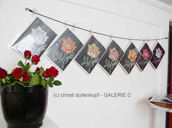 Rosenbild / schwarz-weiß oder zum selbst colorieren  / gemalte Rosen von Ch. Dullenkopf