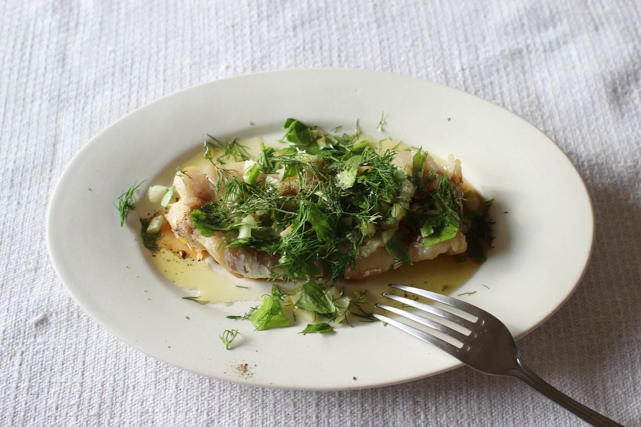 香草とレモン塩の白身魚グリル