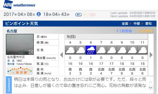 明日は朝から曇り。
