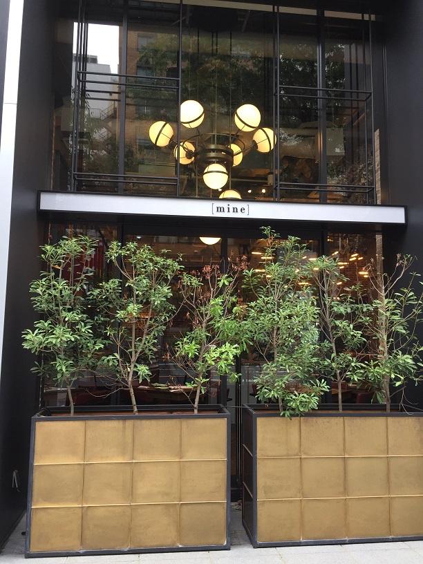 名古屋の栄で見つけたゴールドでゴージャスな鉢植え