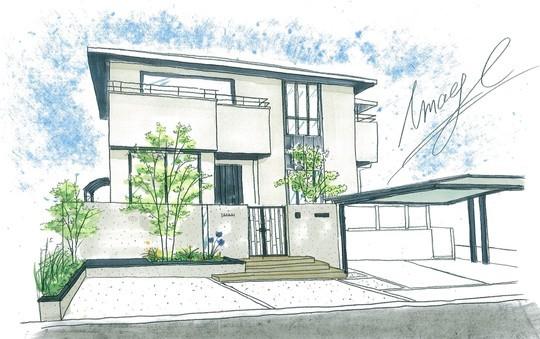 名東区 エクステリアリフォーム完成予想パース シンプルなおうちに合わせたデザイン