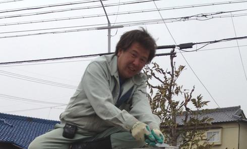 難しい工事に燃えるドラゴン桐山さん。