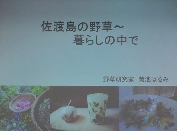 佐渡島の野草研究家、菊池はるみさんの講演を聞かせて頂きました!