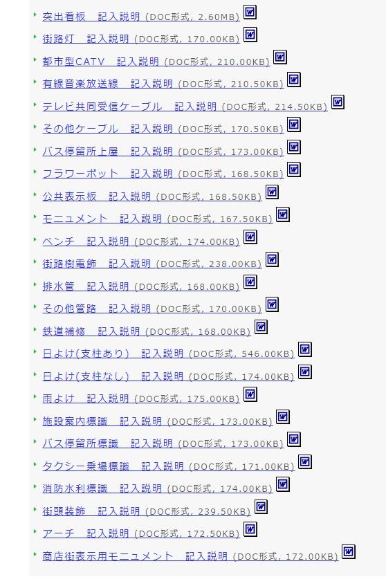 名古屋市ホームページのスクリーンショット。道路占用許可が必要なもの一覧。