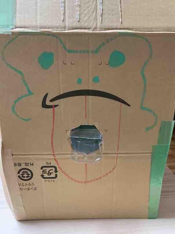 ソーメンスライダー出口の一つ。アマゾンの段ボールを使ったアート?にしました。