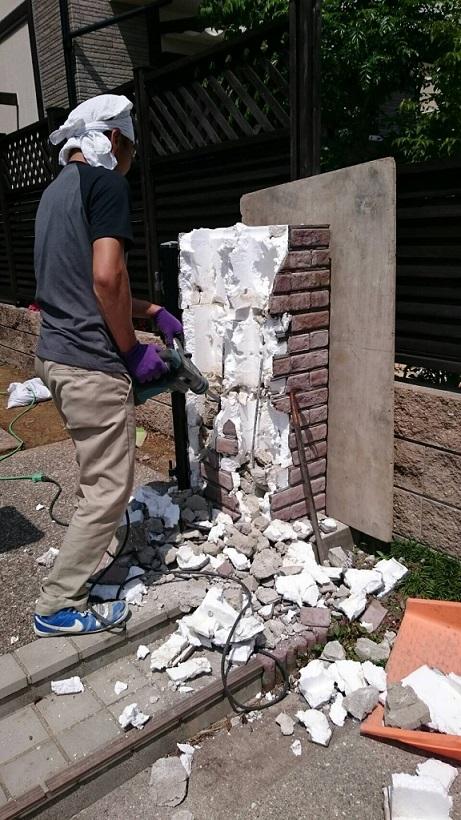 門柱を解体して現れたのはなつかしのTブロック!!!
