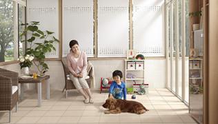 ワンちゃん達がガーデンルームを使う様になると、家の中の困りごとが激減する。
