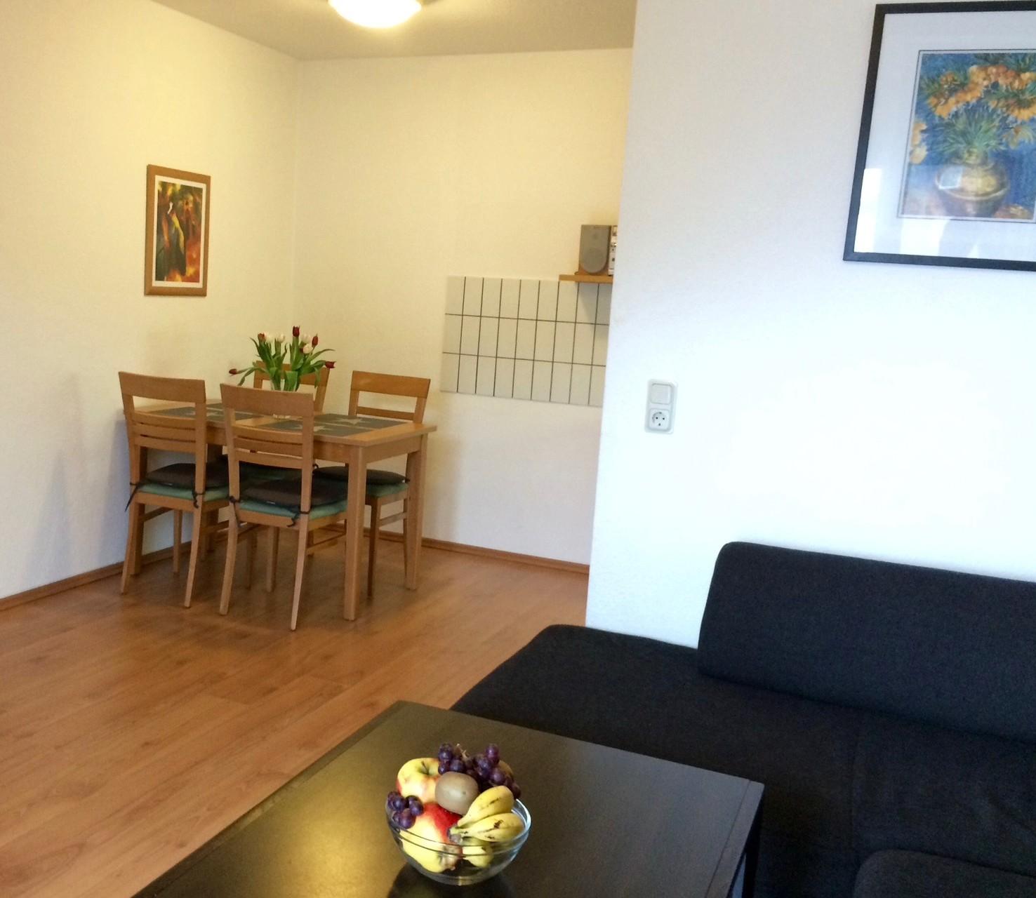 Blick vom Sofa in die Wohnküche.