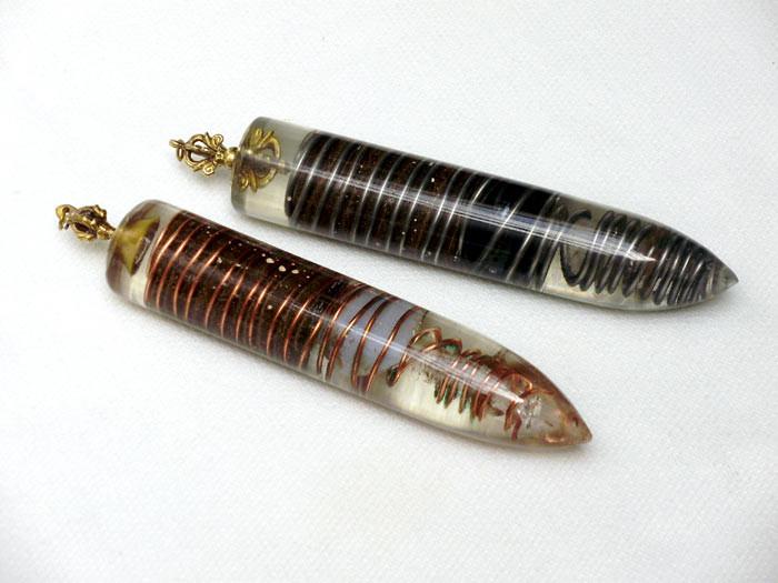 masajeadores radiónicos 15 cm de largos y 2,7 cm de diámetro.