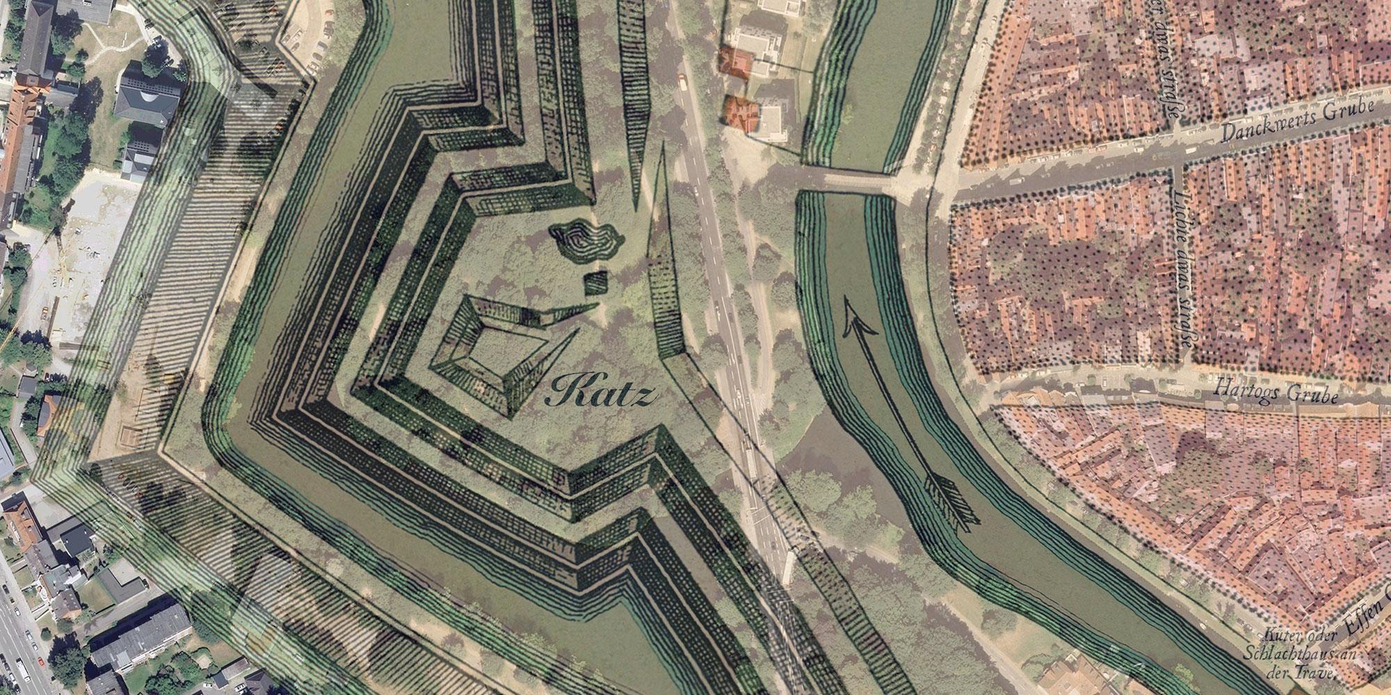 Seutter 1750: Detail mit Luftbild 2