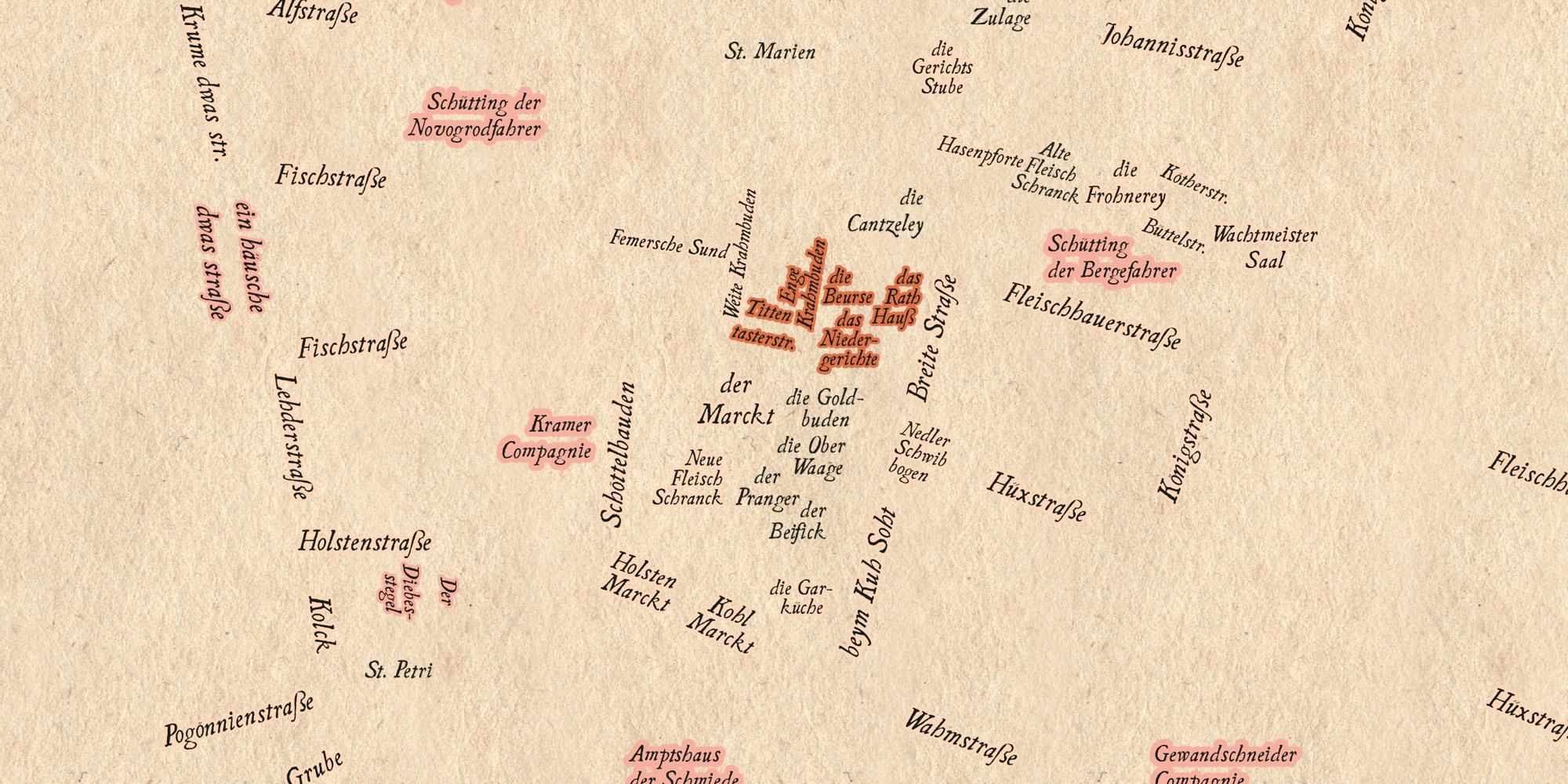 Seutter 1750: Zusatzebene mit Schrifteinträgen und Freistellern