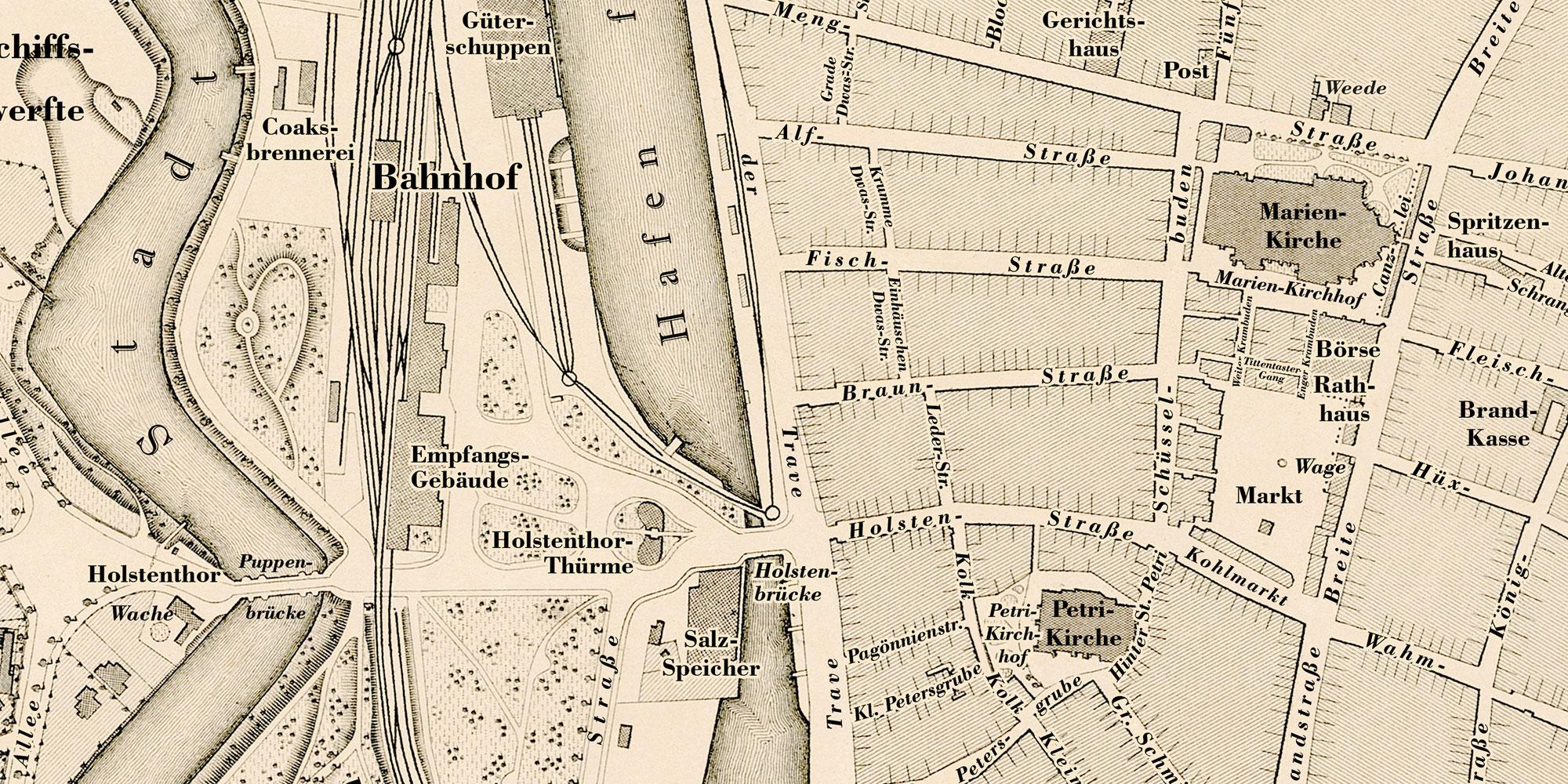 Major Fink 1872: Karte von Lübeck - nach der Restaurierung