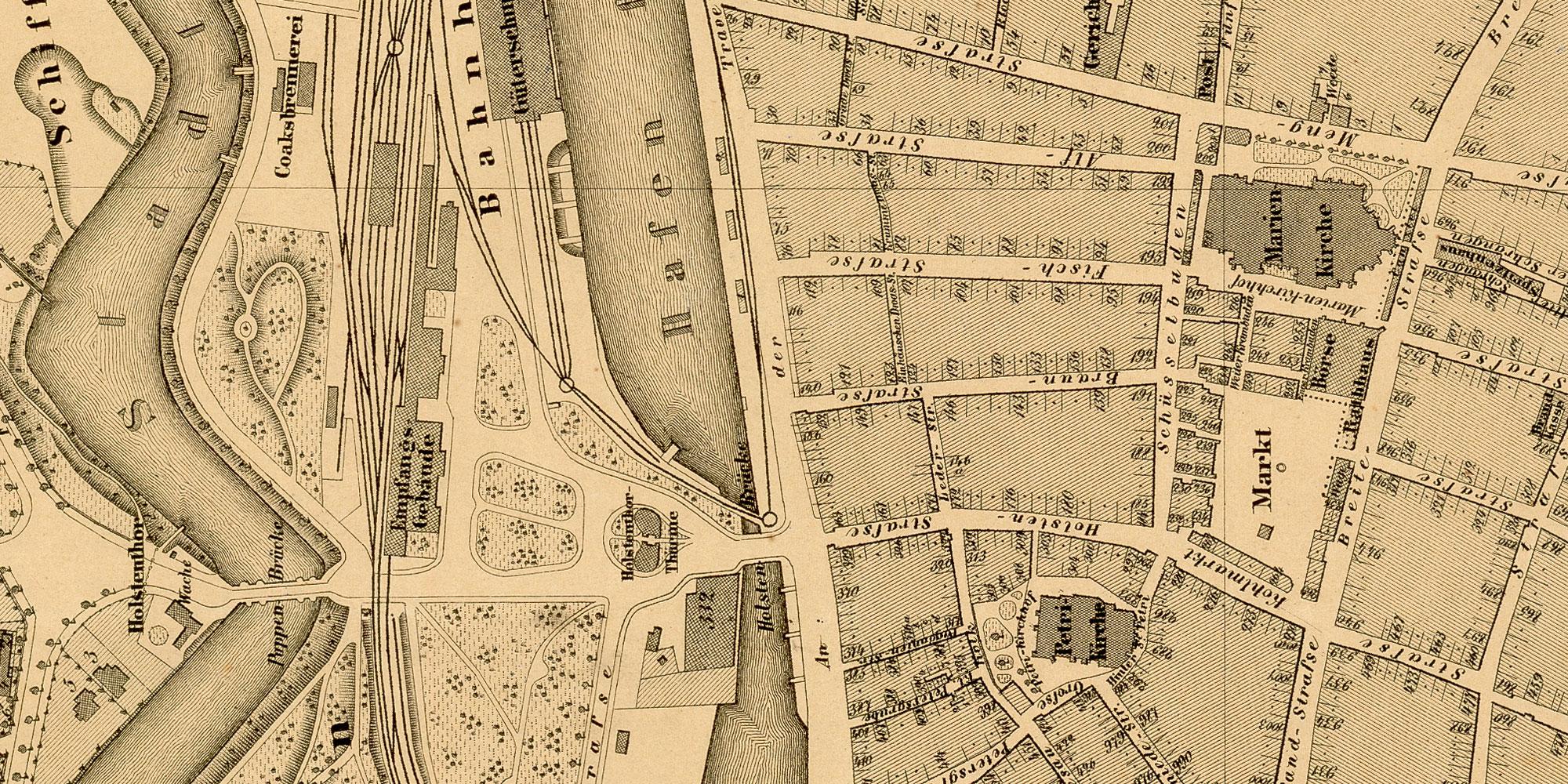 Major Fink 1872: Karte von Lübeck - vor der Restaurierung