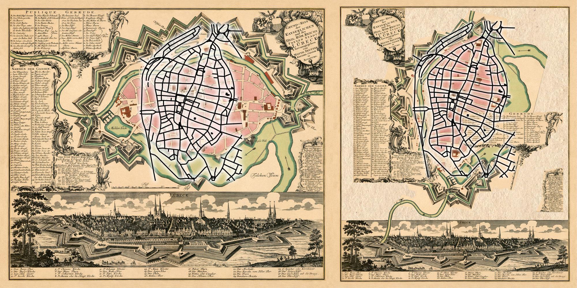 Seutter 1750: georeferenzierter Umriss und Montage