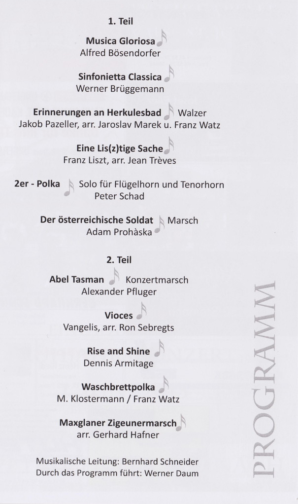 Programm Frühjahrskonzert 2013