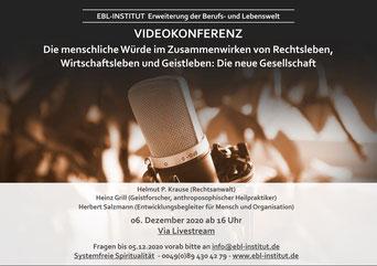 """Livestream vom 6.12.20 über die """"menschliche Würde"""" ist weiterhin verfügbar"""