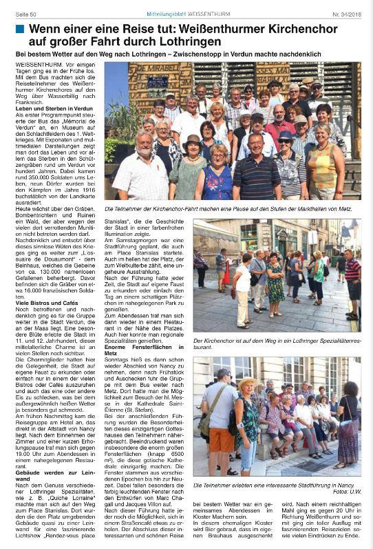 Schöner, ausführlicher Bericht im Mitteilungsblatt am 22.08.2018