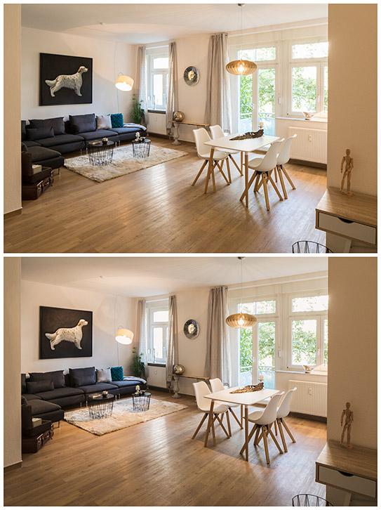Immobilienfotografie Interieur Light painting vorher nachher